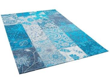 Pergamon Designteppich »Luxus Vintage Designerteppich Patchwork Türkis«, Rechteckig, Höhe 5 mm