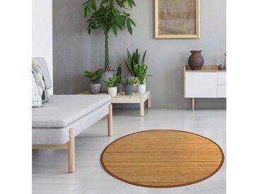 Homestyle4u Teppich, rund, Höhe 17 mm, Bambusteppich mit rutschfester Unterseite, braun, Braun