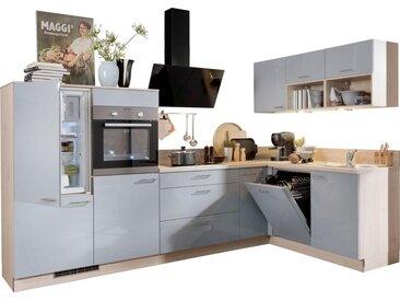Express Küchen Winkelküche »Scafa«, ohne E-Geräte, vormontiert und mit Soft-Close-Funktion, Stellbreite 305 x 185 cm, grau, Spüle rechts, graublau hg