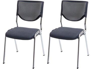 MCW Stapelstuhl »H401-2« 2er-Set, Ergonomisch geformte Rückenlehne, Fußbodenschoner, grau, dunkelgrau - chromfarben