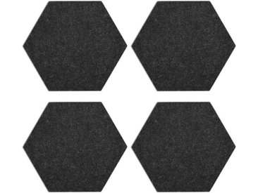 Navaris Pinnwand, Filz Memoboards Set sechseckig - 4x Filzboard 20 x 17 x 1,5cm mit Stecknadeln und Klebeband - für Küche und Büro, grau, dunkelgrau