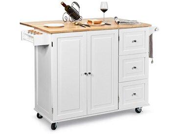 COSTWAY Küchenwagen »Kücheninsel Küchenschrank Servierwagen Kücheninselwagen Mikrowellenwagen Sideboard«, rollbar, mit Handtuchhalter