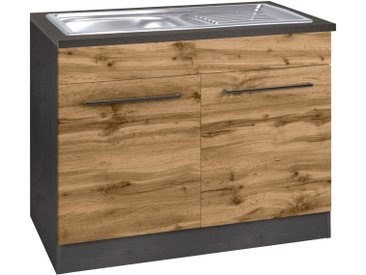 HELD MÖBEL Spülenschrank »Tulsa« 100 cm breit, 2 Türen, schwarzer Metallgriff, hochwertige MDF Front, inkl. Einbauspüle aus Edelstahl, natur