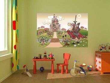 Bilderdepot24 Deco-Panel, selbstklebende Fototapete - Kinderbild - Ritter vor einer Burg, bunt, Vintage