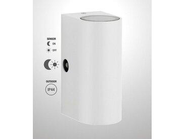 TRANGO LED Außen-Wandleuchte, 8012-RSWL LED Up & Down IP44 Außenwandleuchte aus Aluminium, Wandstrahler modern in RUND Weiß mit Dämmerungssensor (automatische Tag & Nacht-Schaltung) außen & innen Wandlampe