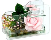 I.GE.A. Kunstpflanze »Rose im Glas mit Teelicht« Rose, Höhe 11 cm, rosa