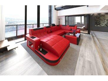 Sofa Dreams Wohnlandschaft »Wave«, U Form, rot, mit Bettfunktion, rot-schwarz