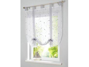 i@home Bändchenrollo »Bestickt Raffrollo Gardinen Vorhang Fenstergardinen Scheibengardinen«, mit Schlaufen, mit Stickerei, grau, Grau