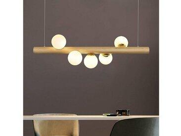 ZMH Pendelleuchte »LED Hängeleuchte aus Holz und Glas esstisch Kugel Pendellampe für Esszimmer«, 5 flg.
