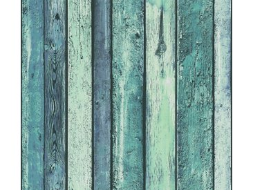 A.S. Création Vinyltapete, Tapeten Holzoptik Blau Papier 362821 Wandtapete Rustikal Holzoptik