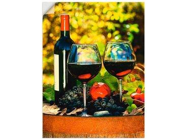 Artland Wandbild »Gläser Rotwein auf altem Fass«, Getränke (1 Stück), Wandaufkleber - Vinyl