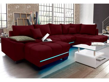 Nova Via Wohnlandschaft, mit RGB-LED-Beleuchtung, Bluetooth-Soundsystem und Bettfunktion, rot, Mit Kaltschaum-RGB-LED-Beleuchtung-mit Soundsystem