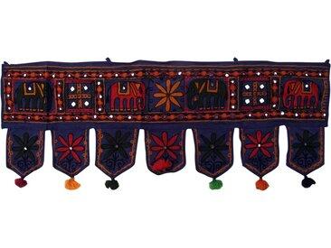 Guru-Shop Wandteppich »Indischer Wandbehang, Orientalischer Wimpel mit..«, Höhe 30 mm, Elefant dunkelblau