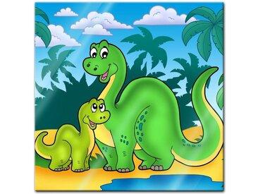 Bilderdepot24 Glasbild, Glasbild - Dino Kinderbild - Familie