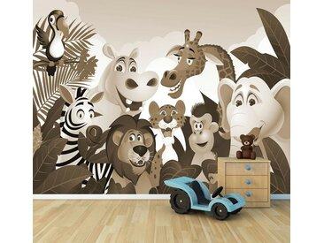 Bilderdepot24 Deco-Panel, Fototapete - Kinderbild Dschungeltiere Cartoon III, bunt, Sephia