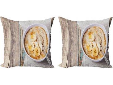 Abakuhaus Kissenbezug »Modern Accent Doppelseitiger Digitaldruck«, Haferflocken Schüssel Banana Porridge