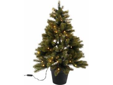 Künstlicher Weihnachtsbaum, mit schwarzem Kunststoff-Topf und LED-Lichterkette, batteriebetrieben