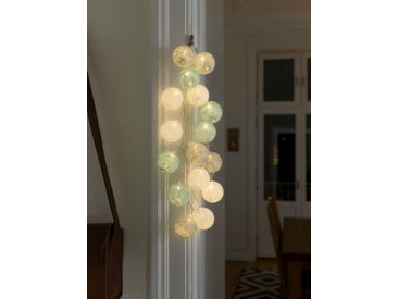 KONSTSMIDE LED Dekolichterkette, Baumwollkugeln, groß, bunt, Lichtquelle warm-weiß, Blau-grau-weiß