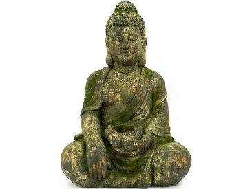 NOOR LIVING Buddhafigur »Buddha, sitzend mit Kerzenhalter« (1 Stück)