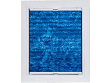 sunlines Plissee nach Maß »Young Style - Batic«, Lichtschutz, mit Bohren, verspannt, weiße Schiene, blau, saphirblau