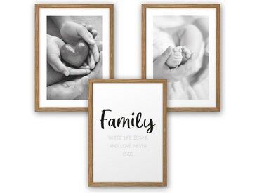 Kreative Feder Poster, Familie, Herz, Liebe, Eltern, Baby, Kind, Geburt, Spruch, Schwarz-Weiß, Fotografie (Set, 3 Stück), 3-teiliges Poster-Set, Kunstdruck, Wandbild, wahlw. in DIN A4 / A3, 3-WP101