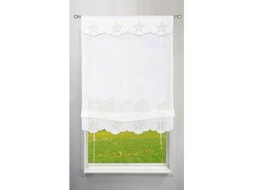 my home Bändchenrollo »Sterne«, mit Stangendurchzug, weiß, weiß-silberfarben