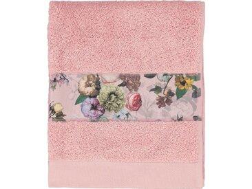 Essenza Gästehandtuch »Fleur« (3-St), Bordüre im wunderschönen Blumenprint, rosa, Loop-Aufhänger, rose