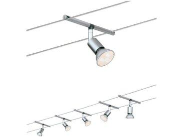 Paulmann LED Deckenleuchte »Wohnzimmerlampe 5x4W Spice SaltLED 230/12V, Chrom matt«, Seilsystem
