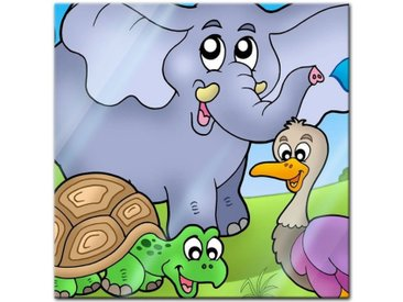 Bilderdepot24 Glasbild, Glasbild - Kinderbild tropische Tiere