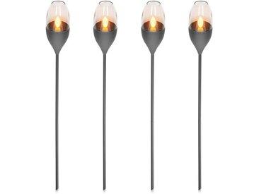 Navaris LED Gartenleuchte, 4x LED Solar Edelstahl Gartenfackel - 8,5 x 112cm - Garten Fackel Solarleuchten Set - Außen Kerzenschein-Effekt Solarfackel
