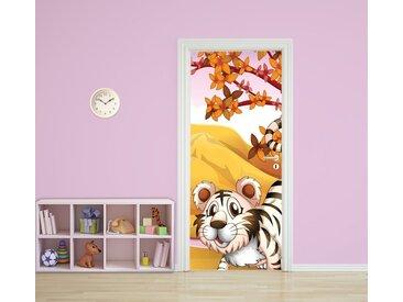 Bilderdepot24 Türtapete, Kinderbild Tiger Cartoon, selbstklebendes Vinyl