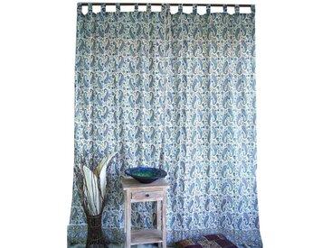 Guru-Shop Vorhang »Boho Vorhänge, Gardine (1 Paar) mit Schlaufen,..«, blau, 250 cm-creme-weiß,blau,blau