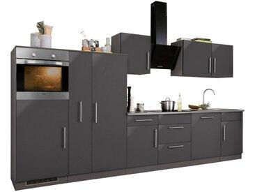 wiho Küchen Küchenzeile »Cali«, ohne E-Geräte, Breite 360 cm, grau, Anthrazit Glanz