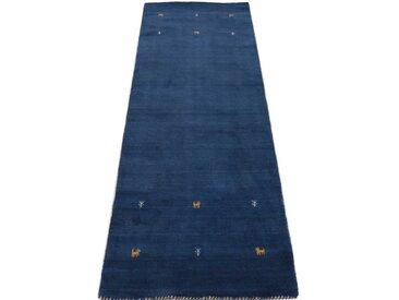 carpetfine Läufer »Gabbeh Uni«, rechteckig, Höhe 15 mm, handgewebt, blau, blau
