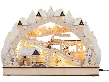 HGD Holz-Glas-Design Lichterbogen Winterromantik mit LED-Beleuchtung, natur, Natur