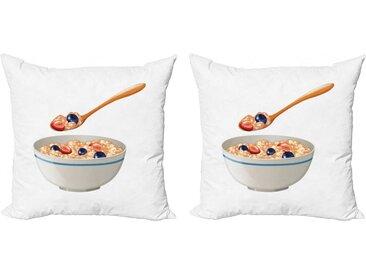 Abakuhaus Kissenbezug »Modern Accent Doppelseitiger Digitaldruck«, Haferflocken Löffel und Schüssel Porridge