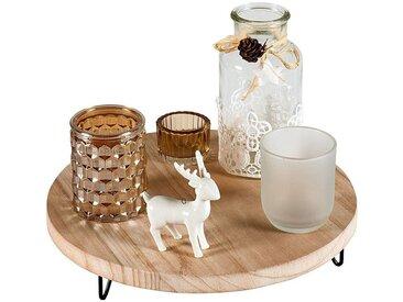 HTI-Living Kerzenhalter Holz Glas mit Holztablett, natur, Natur