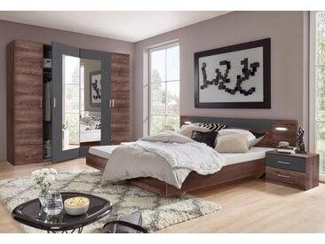 Wimex Schlafzimmer-Set »Angie«, (Set, 4-tlg), grau, Set mit Kleiderschrank Breite 225 cm, schlammeichefarben-graphit