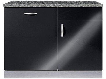 wiho Küchen Spülenschrank »Amrum« 110 cm breit, inkl. Tür/Sockel für Geschirrspüler, schwarz, Schwarz Glanz/Hellgrau