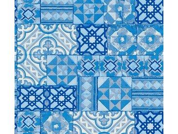 living walls Schaumtapete »Il Decoro«, Fliesen-Optik, blau, metallic-blau
