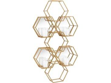 Leonique Wandkerzenhalter »Hexagon«, bestehend aus sieben sechseckigen Elementen, goldfarben, mit 4 Kerzenhaltern, in modernem Design