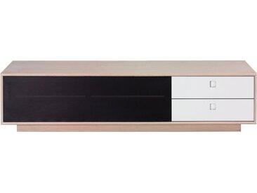 PBJ Lowboard »City«, mit Akustik Tuch, Breite 176 cm, weiß, Korpus white oak/Schubladen Laminat weiß