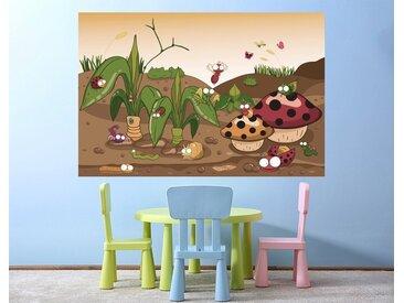 Bilderdepot24 Deco-Panel, selbstklebende Fototapete - Kinderbild - Krabbeltiere II Cartoon, bunt, Vintage