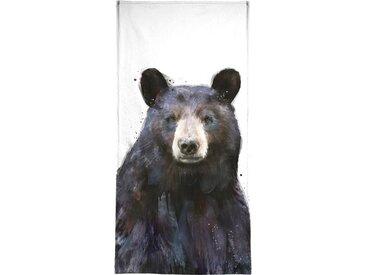 Juniqe Handtuch »Black Bear« (1-St), Weiche Frottee-Veloursqualität
