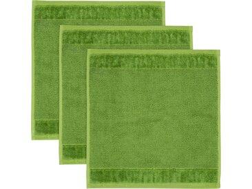 Möve Waschlappen »MÖVE Bamboo Luxe 3er Set Waschhandschuh« (3-tlg), mit seidig glänzenden Bordüren, grün, peridot