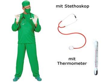 Scherzwelt Kostüm »Kostüm Set Chirurg Arzt Doktor mit Stethoskop + Thermometer«