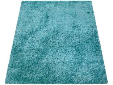 Paco Home Hochflor-Teppich »Bamba 410«, rechteckig, Höhe 45 mm, einfarbiger Uni Hochflor Shaggy, blau, türkis