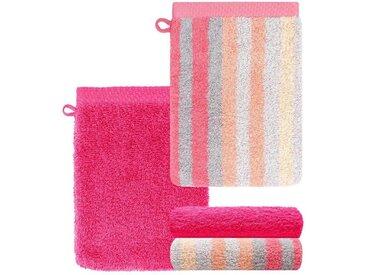 Lashuma Handtuch Set »Pure« (Set, 4-tlg), Waschlappen 4 teilig Gestreift und Uni, Saugstarke Frotteetücher 15x21 cm, rosa, fuchsia