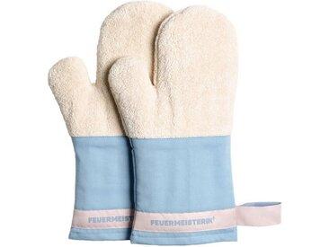 Feuermeisterin Topfhandschuhe »Premium Textil Back- und Kochhandschuhe blaue Stulpe/rosa Band, Paar«