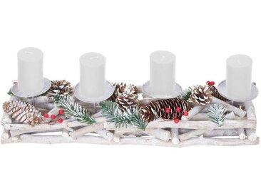 MCW Adventskranz »T867«, Mit 4 Kerzenhaltern, Aufwendig geschmückt, weiß, weiß, weiße Kerzen